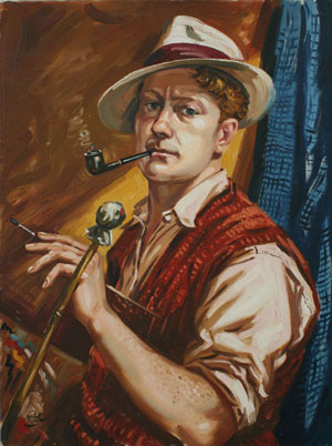 Self Portrait with Pipe, 1950