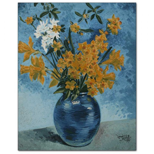 Daffodils in Blue Vase