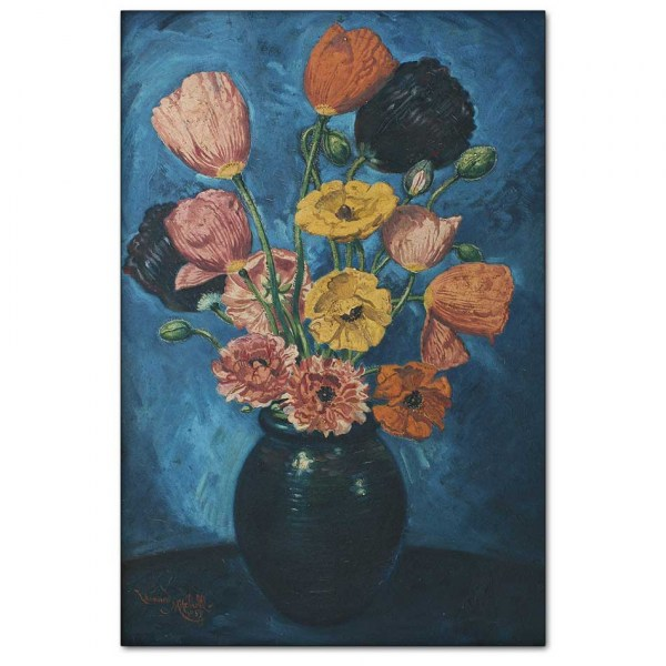 Poppies in Dark Blue Vase