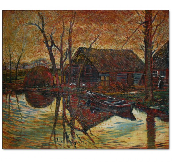 Dutch Autumn Farm, Mill Pond with Boat