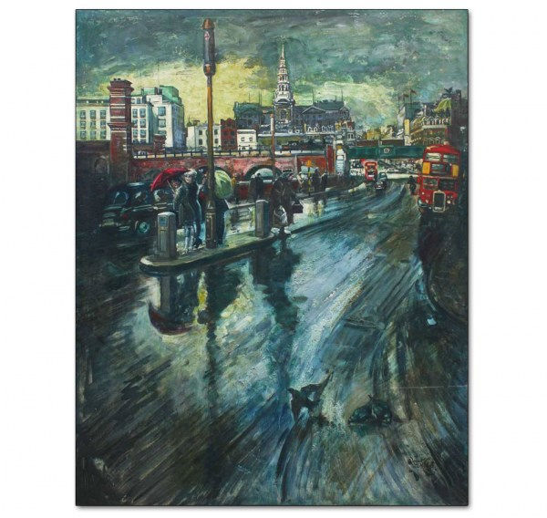 Rainy Street Scene with London Buses